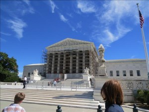 Front of the U.S. Supreme Court, with scaffolding for marble restoration