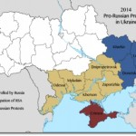 A map of the 2014 (as of April 11, 2014) pro-Russian protests and unrest in Ukraine, by oblast. Severity of the unrest, at its peak, is indicated by the colouring. (Credit: R Gloucester)