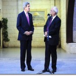 Palestinian Authority Lead Negotiator Saeb Erekat faces U.S. Secretary of State John Kerry as both address reporters following a meeting focused on Middle East peace at the Muqata'a Presidential Compound in Ramallah, West Bank, on January 4, 2013.