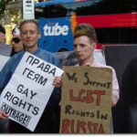 Protest against Russia's banning of Moscow Gay Pride, 1 July 2011, outside the Russian Embassy in London. (Photo credit: Peter Gray)
