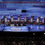 Republican presidential candidates are pictured during the Iowa GOP/Fox News Debate at the CY Stephens Auditorium in Ames, Iowa, Thursday, Aug. 11, 2011.  (Photo credit: IowaPolitics.com)