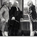 Depiction of the 1776 Staten Island Peace Conference. On the right stands Admiral Richard, Lord Howe. On the left, John Adams, Edward Rutledge, and Benjamin Franklin.