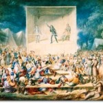 Methodist revival in USA 1839, watercolor from 1839 Second Great Awakening.