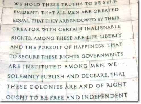 From the Declaration of Independence, at the Jefferson Memorial in Washington, D.C. (Photo credit: Billy Hathorn)