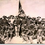 Colonel Roosevelt and his Rough Riders at the top of the hill which they captured, Battle of San Juan, July 1898