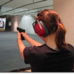 Shooting a Glock 23 at Indoor Shooting Range at Sarasota, Florida (Photo credit: Ratha Grimes)