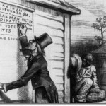 1879 editorial cartoon criticizing the usage of literacy tests for African Americans as a qualification to vote.