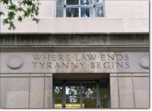 Inscription on the U.S. Dept of Justice Building