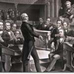 Henry Clay addressing the U.S. Senate, Daniel Webster is seated to the left of Clay, John C. Calhoun is to the left of the Speaker's chair, circa 1855