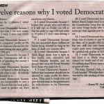 """""""Why I Voted Democrat"""" by James W. Anderson"""