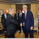 U.S. Secretary of State John Kerry shakes hands with Israeli Prime Minister Benjamin Netanyahu in Washington, D.C., on March 3, 2014. [State Department photo/ Public Domain]