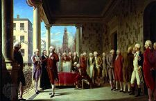 Oil painting of George Washington's inauguration as the first President of the United States which took place on April 30, 1789